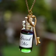 Green Drink Me long charm necklace