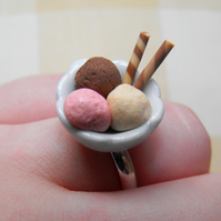 Ice Cream bowl & wafers silver plated ring, FREE DELIVERY