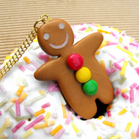 Gingerbread Man charm necklace