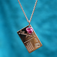 Postcard charm necklace (I Love You)