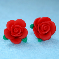 Red Rose stud earrings (silver plated)