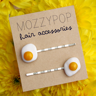 Mini fried egg hair slides/grips