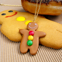 Gingerbread Man charm necklace with gumdrop buttons, FREE DELIVERY