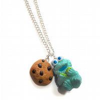 Cookie Monster with cookie charm necklace