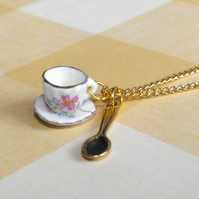 SALE, was £9.00! Lemon Teacup necklace with saucer & spoon (pink/gold) FREE DELIVERY!