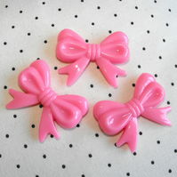 DESTASH XL ribbon/bow beads in pink acrylic, set of 3