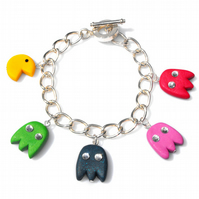 Pac-Man & Ghosties charm bracelet with Swarovski Elements™ FREE DELIVERY