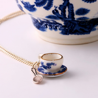 Teacup, saucer & spoon porcelain charm necklace