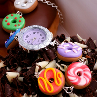 Rainbow Donut charm watch bracelet