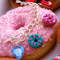 Fruity Donuts mini charm bracelet, FREE DELIVERY