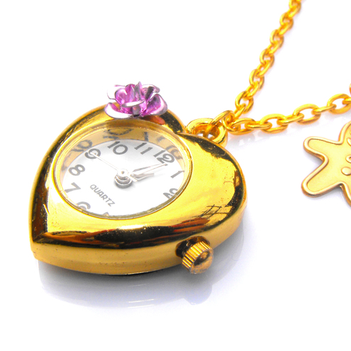 LONG Gold clock & Gingerbread man charm necklace