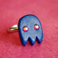 Ghostie ring with Swarovski Elements™, silver plated. FREE DELIVERY