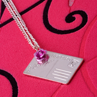Postcard charm necklace (sterling silver)