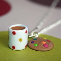 Tea & Cookie Biscuit charm necklace, FREE DELIVERY
