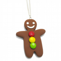 Gingerbread Man charm necklace with gumdrop buttons