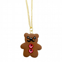 Crystal buttons teddy bear charm necklace