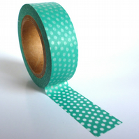 Turquoise Spotty Polka Dot Washi Tape 15mm x 10m Roll WT0034