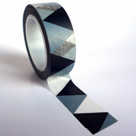Black and Grey Triangles Washi Tape 15mm x 10m Roll WT0039