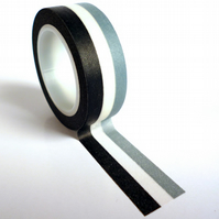 Black and Grey Stripe Washi Tape 15mm x 10m Roll WT0038