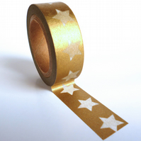 Gold with Large White Stars Washi Tape 15mm x 10m Roll WT0050