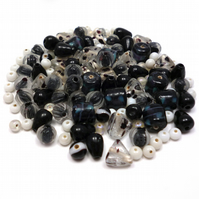 Glass Bead Mix - Liquorice Mix - Black, Grey, White (GB0018)