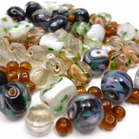 Glass Bead Mix - Moss Mix - Black, Grey, White, Brown, Green, Pink