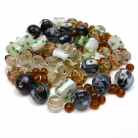 Glass Bead Mix - Moss Mix - Black, Grey, White, Brown, Green, Pink (GB0033)
