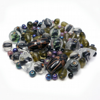 Glass Bead Mix - Ebony Mix - Black, Bronze, Green, Blue, Purple (GB0035)