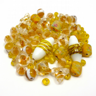 Glass Bead Mix - Banoffee Mix - Yellow, Brown, Toffee, Amber, White (GB0020)