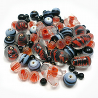 Glass Bead Mix - Aniseed Mix - Black, Grey, Orange, White (GB0019)