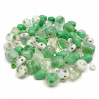 Glass Bead Mix - Forest Green Mix - Green, White, Mint, Pink (GB0032)