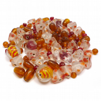 Glass Bead Mix - Henna Mix - Brown, Pink, Yellow, Orange, Amber (GB0034)