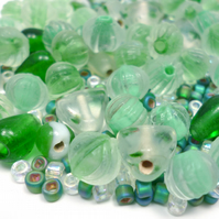 Glass Bead Mix - Grass Green Mix - Green, Mint, White