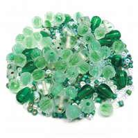 Glass Bead Mix - Grass Green Mix - Green, Mint, White (GB0030)