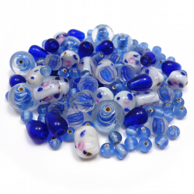 Glass Bead Mix - Pacific Mix - Blue, White (GB0022)