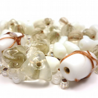 Glass Bead Mix - Sandstone Mix - White, Natural, Stone, Gold