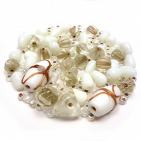 Glass Bead Mix - Sandstone Mix - White, Natural, Stone, Gold (GB0038)