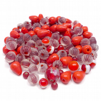 Glass Bead Mix - Winter Berries Mix - Red, White (GB0026)