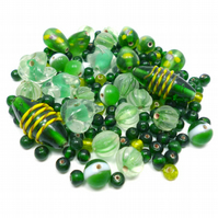 Glass Bead Mix - Shamrock Mix - Green, Mint, Yellow, White (GB0025)