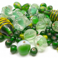 Glass Bead Mix - Shamrock Mix - Green, Mint, Yellow, White