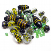 Glass Bead Mix - Holly Mix - Black, Green, Yellow (GB0037)