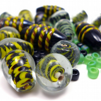 Glass Bead Mix - Holly Mix - Black, Green, Yellow