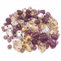 Glass Bead Mix - Autumn Berries Mix - Purple, White, Pink, Brown (GB0024)