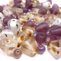 Glass Bead Mix - Autumn Berries Mix - Purple, White, Pink, Brown