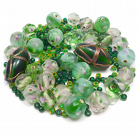 Glass Bead Mix - Apple Mix - Green, White, Pink, Gold (GB0036)