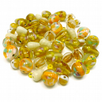 Glass Bead Mix - Cinnamon Mix - Yellow, Cream, Pink, Green (GB0031)