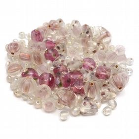Glass Bead Mix - Pomegranate Mix - Pink (GB0021)