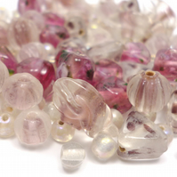 Glass Bead Mix - Pomegranate Mix - Pink