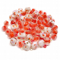 Glass Bead Mix - Coral Mix - Pink, Orange (GB0029)