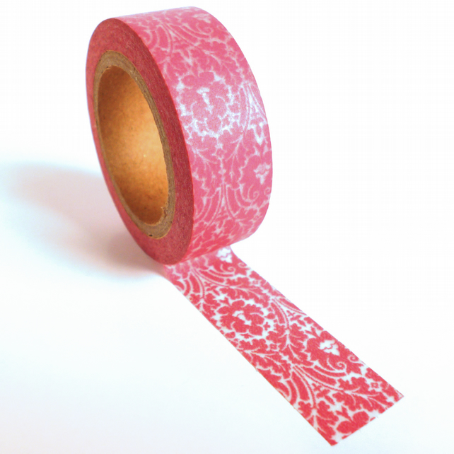 Pink Damask Patterned Washi Tape 15mm x 10m Roll WT0029